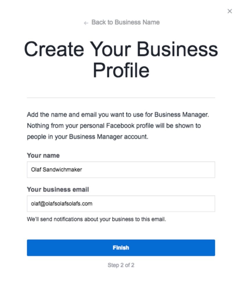 create your business profile