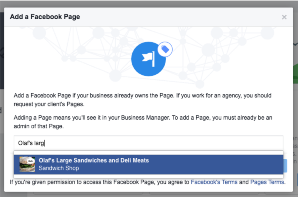 add a facebook page