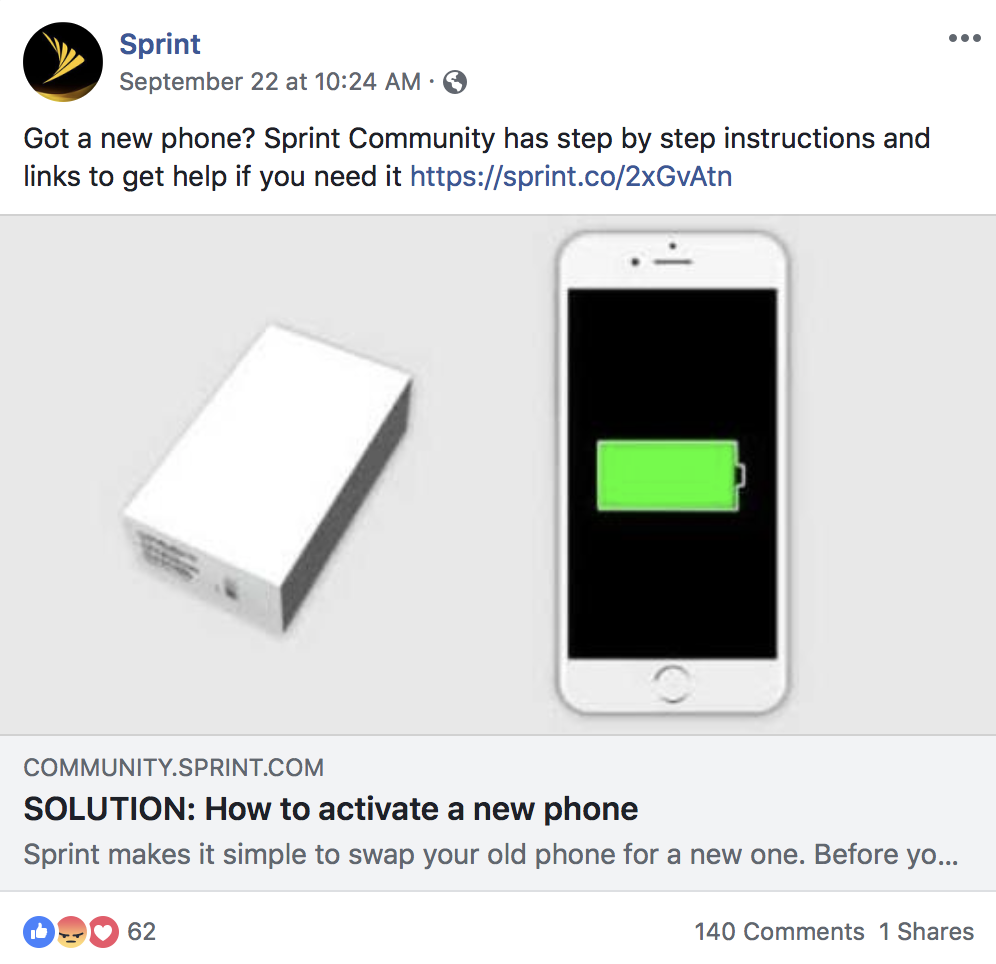 sprint facebook post